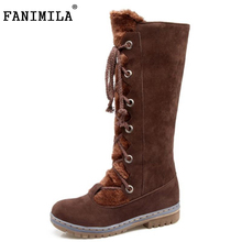 FANIMILA Size 34-43 Women Mid Calf Flats Boots Cross Strap Half Short Boots Women Warm Fur Shoes Winter Botas For Woman Footwear