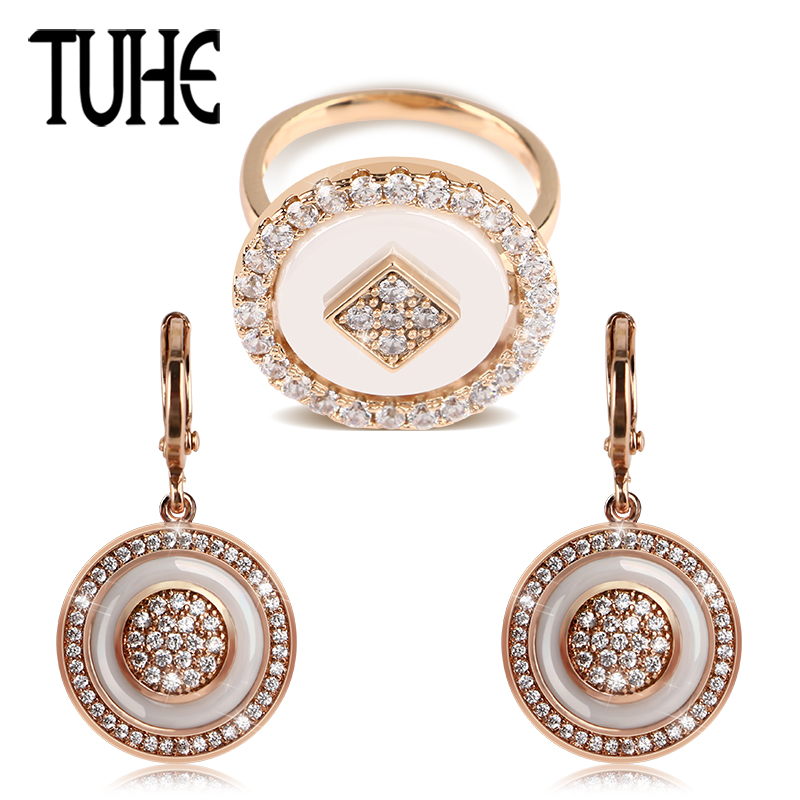 TUHE Vintage Rose Gold Jewelry Set Round Shape With One Row Crystal Rings And Drop Earrings Women Exquisite Ceramic Jewelry Set цена