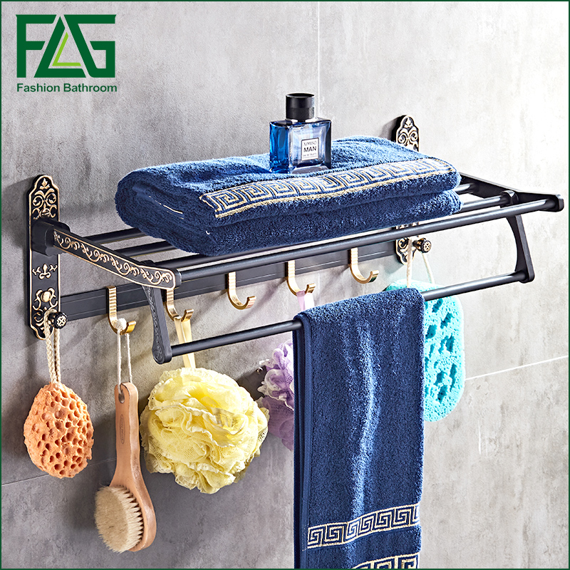 FLG Whole Space aluminum towel rack bath shelf Active towel rack bathroom towel holder black towel shelf european nail free foldable antique brass bath towel rack active bathroom towel holder double towel shelf with hooks bathroom accessories