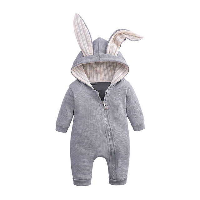 Cartoon Animal Shaped Hooded Baby's Romper 3