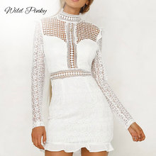 WildPinky Elegant Hollow Out White Lace Women Dress Ruffles Slim Autumn Winter 2019 High Waist Long Sleeve Party Vestidos