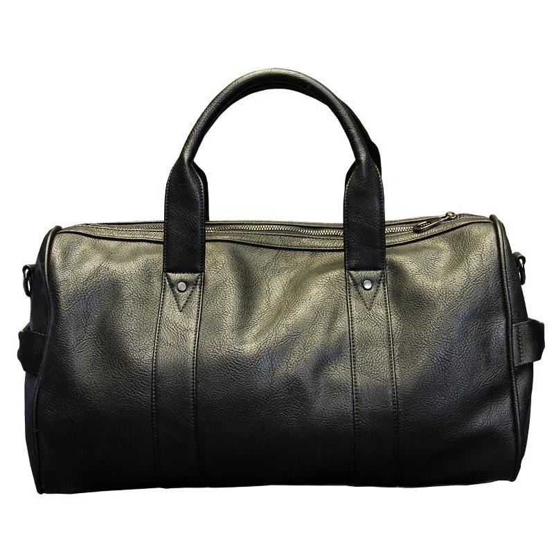 Xiao.P  Brand High Quality PU Leather Men's Travel Bags Black Bucket Handbags Shoulder Bag Big Volume Men Business Luggage Bag