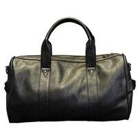 Xiao P Brand High Quality PU Leather Men S Travel Bags Black Bucket Handbags Shoulder Bag