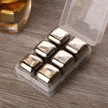 6 pcs/lot Reusable Stainless Steel Ice Cubes Cool Whiskey Stones Ice Cubes With Ice Tong Soapstone Glacier Cooler Stone