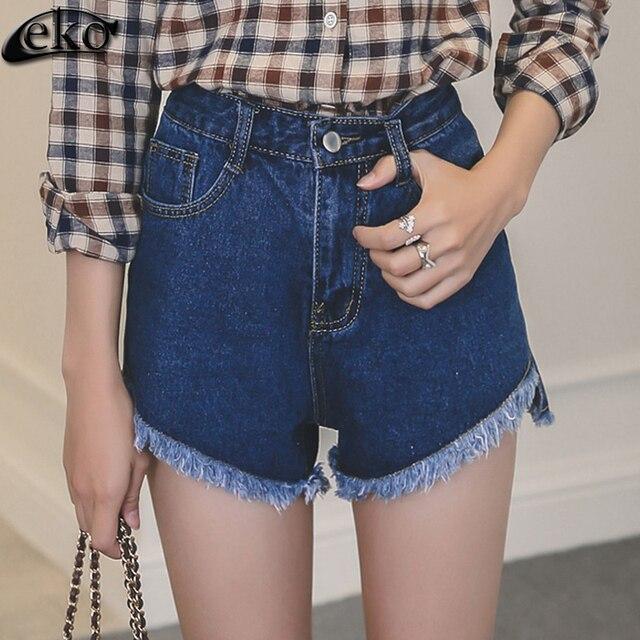 2016 New Fashion Female Lace Shorts Women's Jeans Summer High Waist Shorts Denim Short Casual Women Jeans Short Plus Size