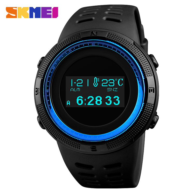 SKMEI Men Sport Watch Pedometer Calorie Digital Watches Top Male Clock Compass Thermometer Wrist Watch Man Relogio Masculino1360