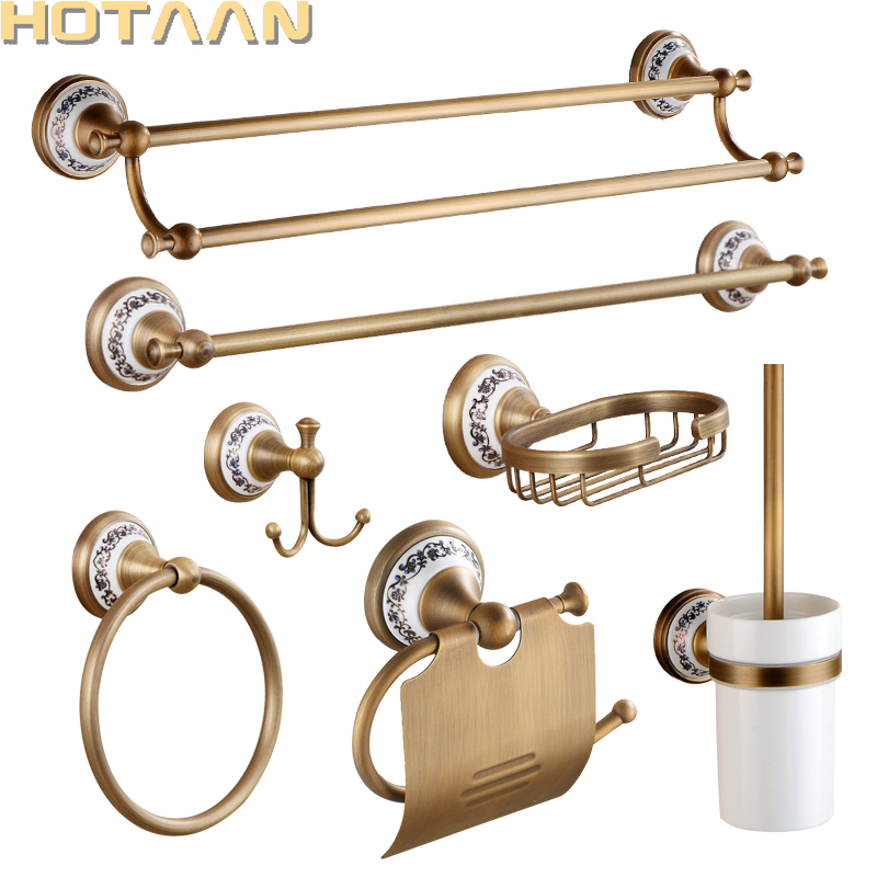 Antique Brushed Solid Brass Bathroom Accessories Sets European Porcelain Bathroom Hardware Sets Ceramic Retro Bathroom Products