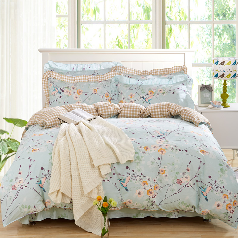 100 cotton bedding set duvet cover sets bed sheet adults kids bedroom sets size bedlinen flower - King Size Bed Sheets