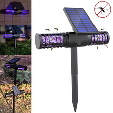 Solar LED Outdoor Mosquito Killer Lamp Waterproof UV Light High-voltage Grid Whole Night Protect DAG-ship