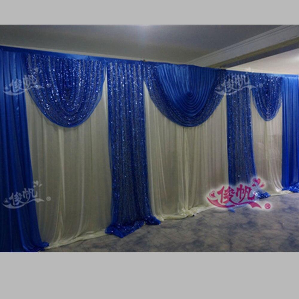 Royal Blue Wedding Backdrop Curtain Sequins Swag 3m*6m
