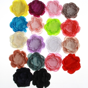 10PCS 9.5CM Hot Sale Satin Burned Flowers For Headbands Skin Burning Fancy Hair Flowers For Hair Accessories Bouquet(China)