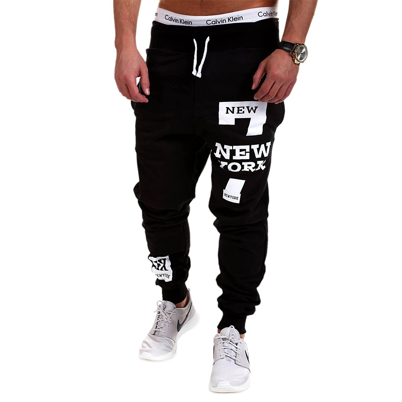Hip Hop Streetwear Men Letters Print Sportwear Baggy Casual Male Tracksuit Trousers Black Pants Sweatpants Plus Size M-4XL