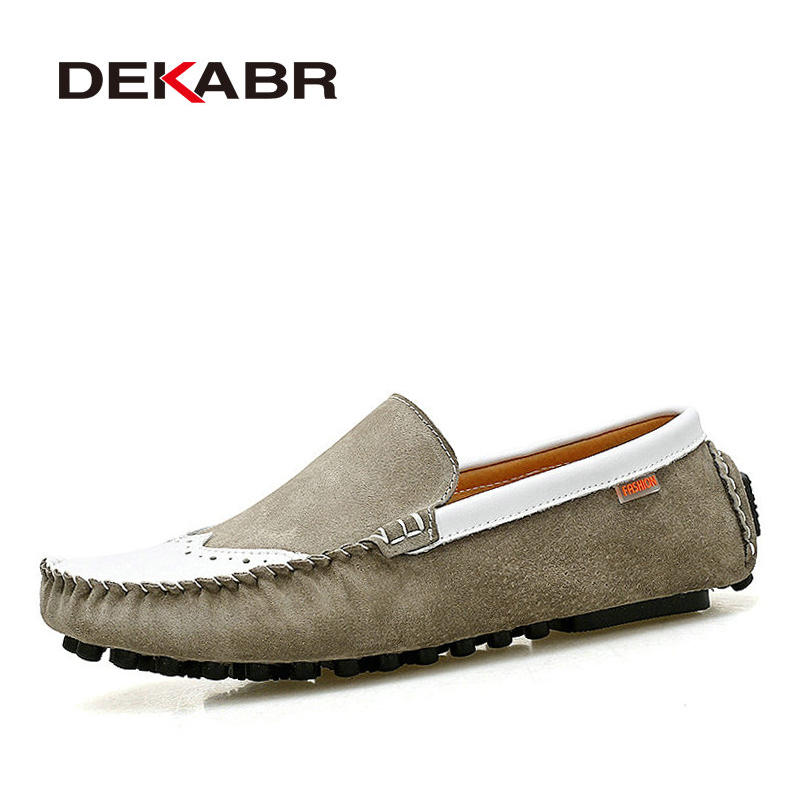 DEKABR Men Flats Soft Breathable Bullock Style Men Loafers Cool Classical Moccasins Non-Slip Driving Casual Shoes Men Size 39-44 branded men s penny loafes casual men s full grain leather emboss crocodile boat shoes slip on breathable moccasin driving shoes