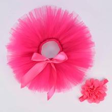 Ярко-розовая однотонная пушистая юбка-пачка и повязка на голову для маленьких девочек, комплект для новорожденных, костюм для фотосессии, фатиновая юбка-пачка на день рождения для детей 0-12 месяцев