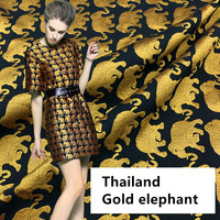 RUBIHOME (100x154cm)European Brocade Jacquard Thailand Gold Elephant Design Fabric from French for DIY Sewing Dress Materail