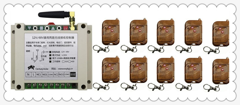 DC12V 24V 36V 48V 10A 2CH RF Wireless Remote Control Switch System 10 transmitter & 1 receiver relay Receiver Smart Home Switch high quality 12v 24v 2ch rf wireless remote control lighting switch receiver with 2ch relay for smart home 315mhz 433 92mhz