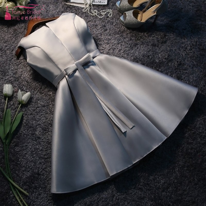 Silver   Bridesmaid     Dresses   Short Knee Length Elegant Wedding Guest   Dress   New Years Eve   Dress   For Wedding Party For Women JQ28
