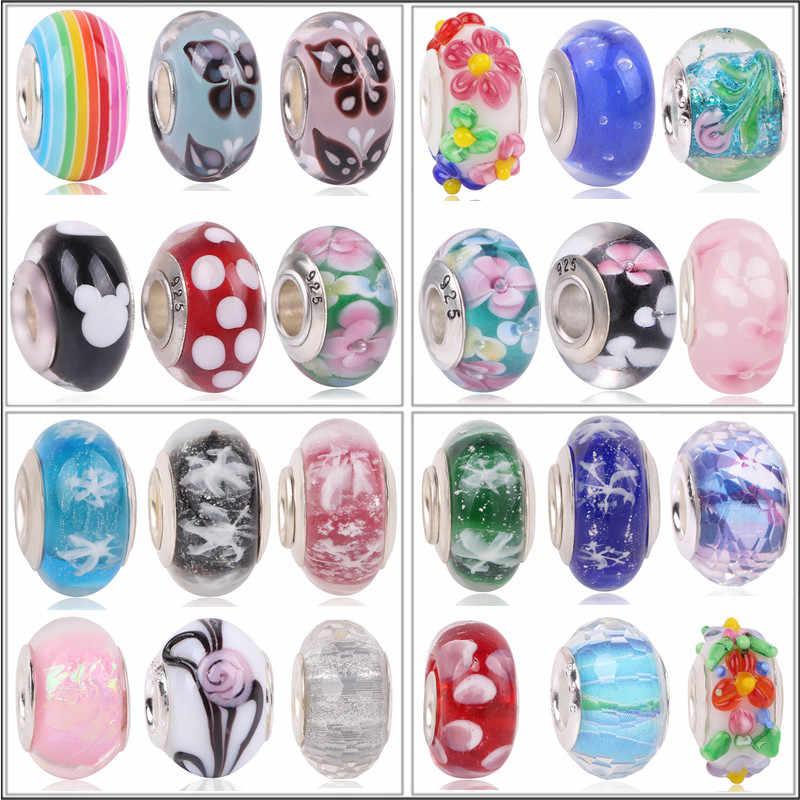 Neueste Europäischen Bunte Blume Schnee Murano Glas Perlen Murano Aolly Charm Bead Fit Marke Für Mädchen DIY Armbänder & Armreifen