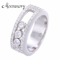 Moonmory Jewellery Moveable Stone Wedding Ring For Women France Hot Sale 925 Sterling Silver Move Stone Ring For Lover Best Gift