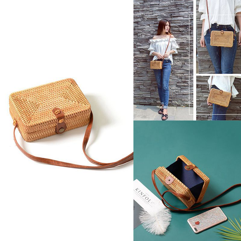 INS new ladies hand-woven Satchel square rattan retro literary hand-woven leather buckle package Bohemia Beach Messenger SatchINS new ladies hand-woven Satchel square rattan retro literary hand-woven leather buckle package Bohemia Beach Messenger Satch