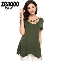 Zeagoo 2017 New Arrival Women Short Sleeve Asymmetric Hem Loose Tee Solid Casual T Shirt Women