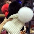 Зимний мех помпоном hat для женщин меховая шапка пом пом hat меха pom poms шапочка женщины промашка hat шапка женская шапка женская зимняя осень шапка женская вязаная трикотажная зимние шапки женские зимние зима