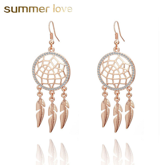 Vintage Dream Catcher Earrings For Women Feather Dangle Long Crystal Hollow Out Hanging Earring Brincos