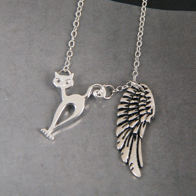 Nero kitty cat my angel with wings dog lover necklace pendants nero kitty cat my angel with wings dog lover necklace pendants charms memorial gift jewelry necklace aloadofball Image collections