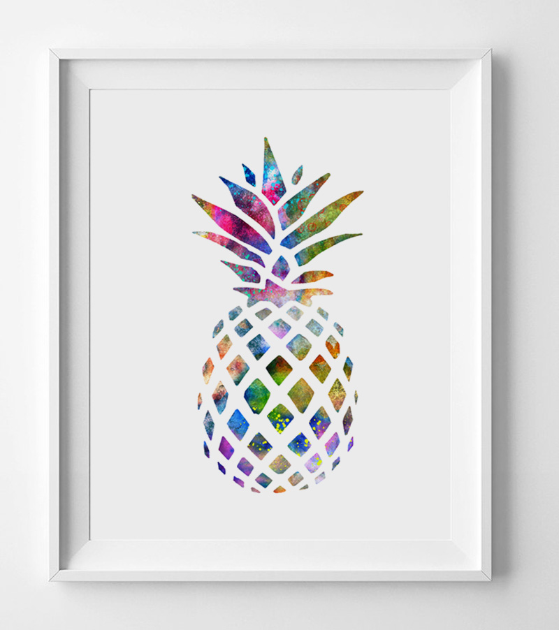 Aquarell Ananas Kunst Poster Wall art Home Decor Geschenk ...