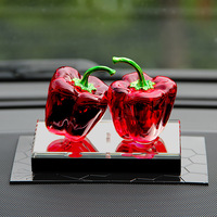 Creative Home Decoration Accessories Modern Crystal Chili Miniature Figurines Gifts Plant Room Feng Shui Red/Green