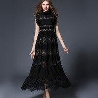 Summer Flower Lace Hollow Out Ruffled Women Casual Dress Sleeveless A Line Elegant Black Long Female