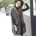 Женская Мода Зимние Меховые Пальто Толстые Теплые Подлинная Настоящее Фокс Меховой Жилет Жилет Без Рукавов Длинный Жакет