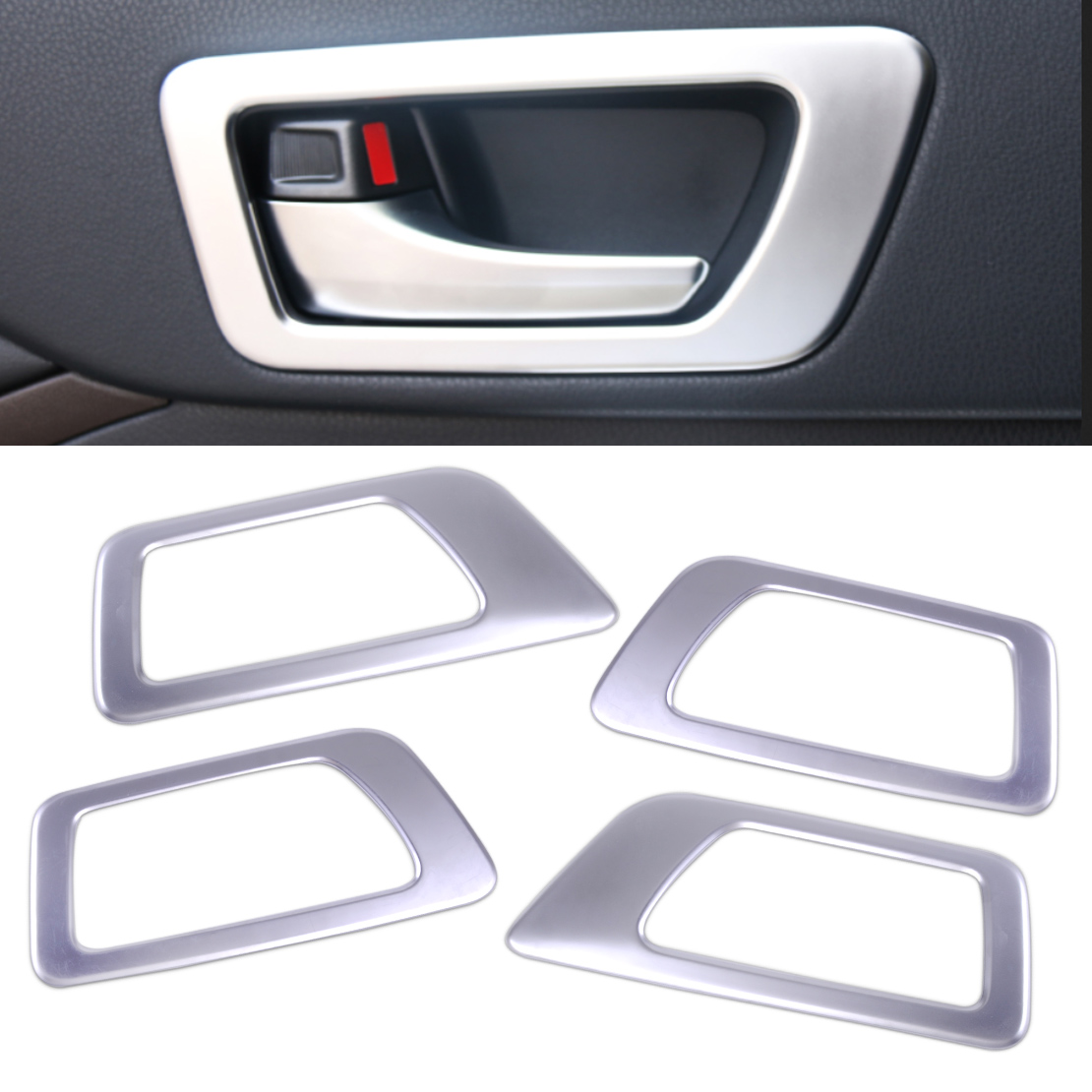 DWCX 4Pcs Car Styling Cool ABS Chrome Left + Right Inner Handle Bowl Trim Decoration fit for Toyota Highlander 2015 2016 2017