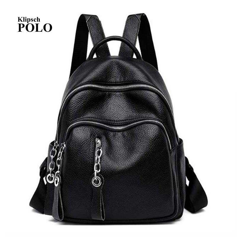 2018 Fashion Women Backpack Genuine Leather Zipper Bag For Girl Summer Style Female Designer Backpack Bolsas недорго, оригинальная цена