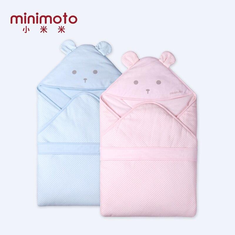 Minimoto 90*90 cm bébé Swaddle couverture bébé dormir Swaddle enveloppe en mousseline coton tenir chapeau couette pique-nique voyage enfant literie sac de nuit
