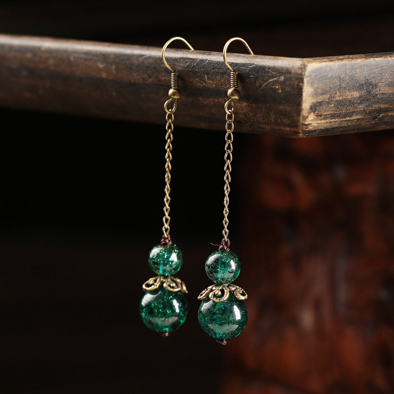 Earrings Handmade Jewelry Earring For Women Drop Flower Jewelry alloy High Quality Vintage Wedding Accessories pair of vintage alloy emboss beads triangle earrings for women