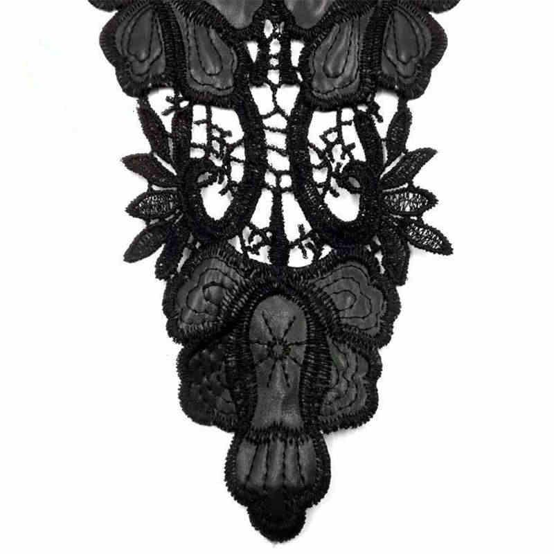 DoreenBeads Işlemeli DIY Yaka Dantel Kumaş Siyah Yaka Suda Çözünür Yaka Akşam düğün elbisesi Cheongsam Malzemeleri 1 ADET