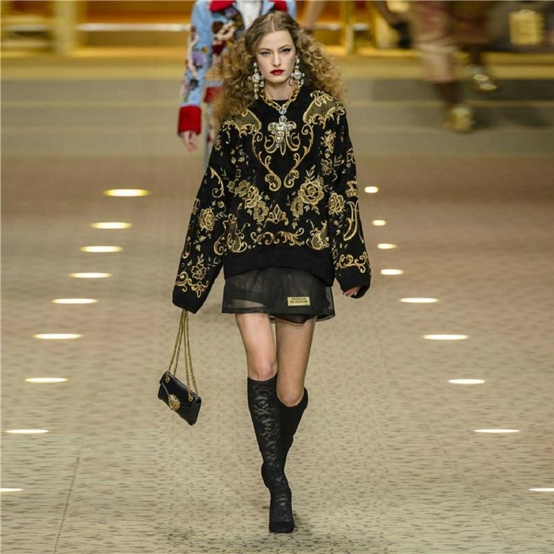 2020 Winter Runway Designer Black Sweater Pullovers Women Luxury Floral Print Female Christmas Knit Sweater Jumper Clothing