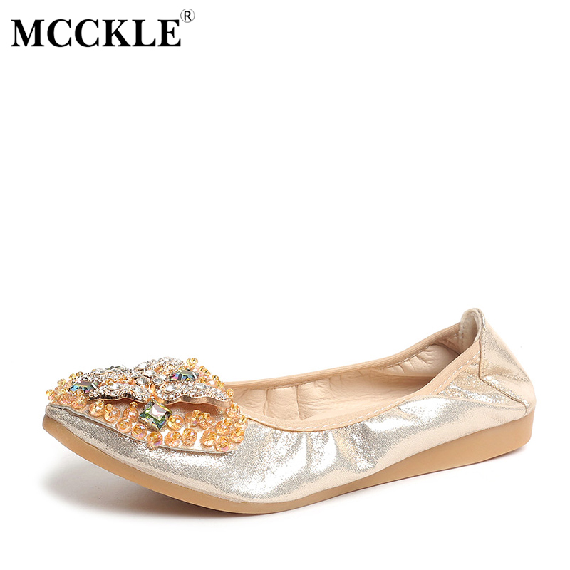 MCCKLE Women Slip On Elastic Band Butterfly Crystal Bead Ballet Flats Female Pointed Toe Bling Sequined Soft Casual Shoes 2017 womens spring shoes casual flock pointed toe narrow band string bead ballet flats flat shoes cover heel women flats shoes