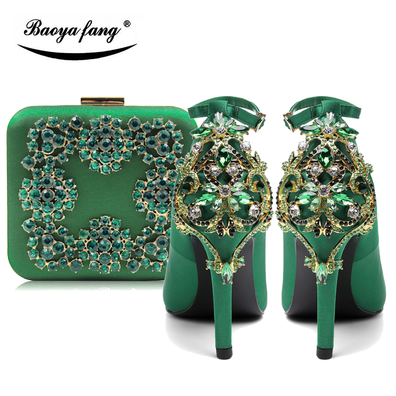 2018 New Green Womens wedding shoes with matching bags Bride Fashion shoes and purse set 9cm heel Buckle Ankle strap Pumps baoyafang red crystal womens wedding shoes with matching bags bride high heels platform shoes and purse sets woman high shoes