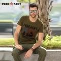 Freearmy Marca Para Hombre T Shirt Regular O-cuello de Las Camisetas de Los Hombres Cortos manga Tops Y Camisetas de moda Verde Militar Camiseta M-4Xl Ms-6296A