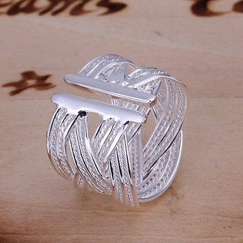 The best gift fashion exquisite women lady geometric open large ring silver color classic models  silver plated jewelry R024 2