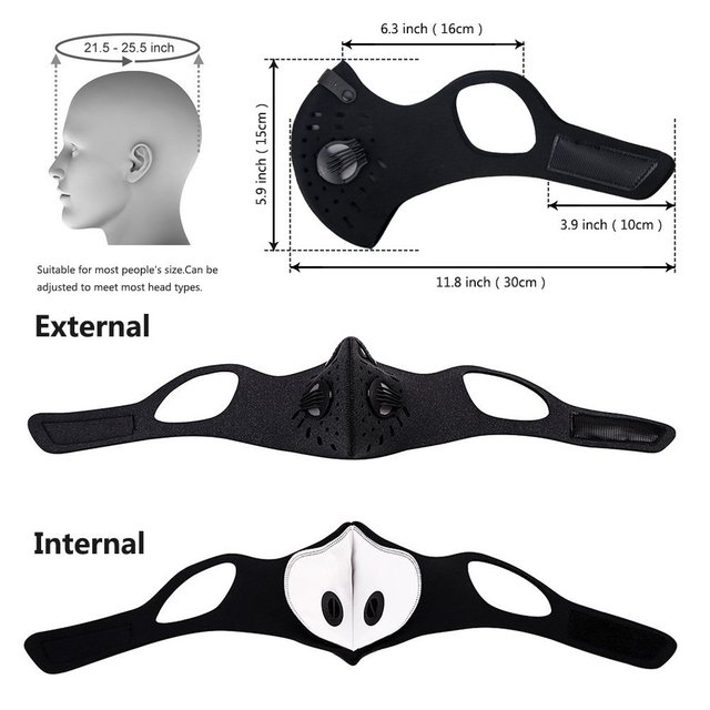 Sport Face Mask With Filter Activated Carbon PM 2.5 Anti-Pollution Running Training Facemask MTB Road Bike Cycling Mask D30 1