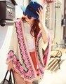 2016 primavera outono marca de luxo lã cashmere Poncho capa xale camisola de lã Mulheres do desenhador grandes olhos bordados cardigan manto