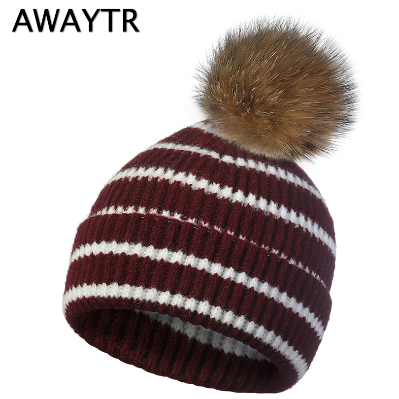 AWAYTR Brand Winter   Beanies   For Women Knitted Striped Pompoms Hat Mix Colors   Skullies     Beanies   Caps Female Girls Winter Warm Hat