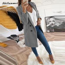2018 New Women Long Sleeve Turn-Down Collar Outwear Jacket Wool Blend Coat Casua