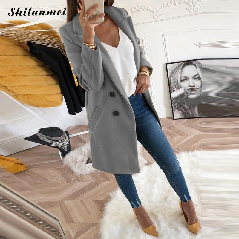 2018 New Women Long Sleeve Turn-  Down   Collar Outwear Jacket Wool Blend   Coat   Casual Autumn Winter Elegant Overcoat Loose Plus Size