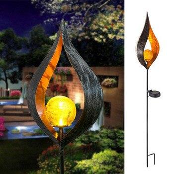 LED Solar Flame Light Metal LED Garden Light Flame Effect Lamp Waterproof Outdoor Lights Landscape Lights Solar Decorative Light 14