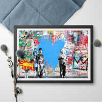 Canvas Art Print Juxtapose Mr.brainwash Graffiti Street Einstein Chaplin Canvas Painting Wall Art Poster and Print Home Decor