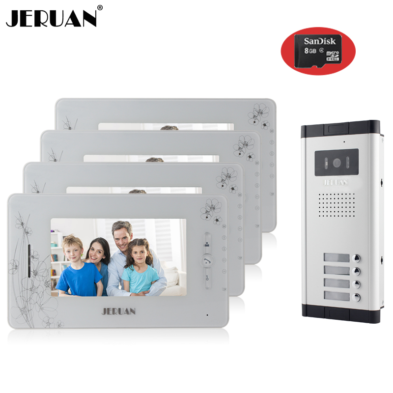 JERUAN Brand New Apartment Intercom 7`` LCD Video Door Phone Doorbell intercom System for 4 house 1V4+8GB card+free shipping new apartment doorbell intercom 7 lcd touch key video door phone intercom system 1camera 10 monitors for 10 house free shipping